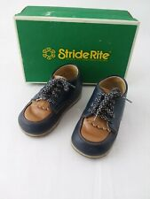 Stride Rite Vintage Baby Boy Shoes Leather Blue And Tan sz 4e