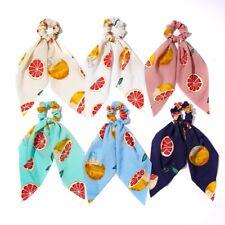 Fruit Print Ponytail Scarf Elastic Hair Rope Tie Scrunchies Ribbon Hairtie Bands