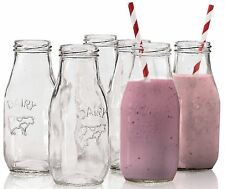 """Circleware Country """"Dairy"""" Glass Milk Bottles, 6 , Set of 6, 10.5 Ounce NEW"""
