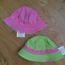 HANNA ANDERSSON XS 3-12m REVERSIBLE Cotton CRUSHER BUCKET SUN HAT Pink Green NWT