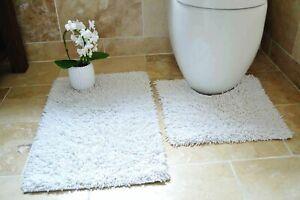 White TUMBLE TWIST 100% Cotton Bath & Toilet Pedestal Mat 2 Piece Bathroom Set