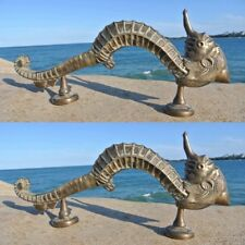"""2 Large SEAHORSE solid pure brass door old style heavy house PULL handle 14"""" B"""