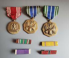 3 vintage Military Medals w/ 4 lapel pins Achievement Merit