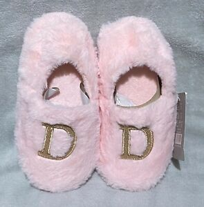 Girls - Furry Pink - Initial D - Slip on Mules/Slippers - Size 1-2 - Brand New
