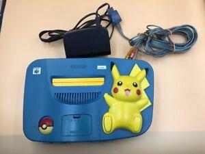 P11898 Nintendo 64 Pokemon Pikachu Blue & Yellow N64 console System * Express