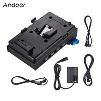 Andoer V Mount Battery Plate w/Dual Hole Rod Clamp LP-E6 Dummy Adapter for BMCC