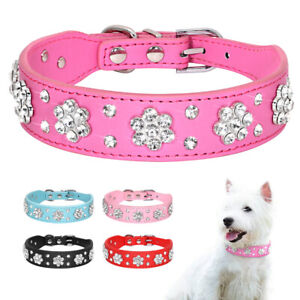 Bling Diamante Dog Collar Fancy Rhinestone Soft Leather for French Bulldog Black