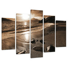 5 Part Brown Sepia Canvas Pictures Wall Art Living Room Prints 5076