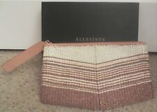 "**SALE** BRAND NEW ""ALLSAINTS"" BEIGE/PINK BEADED ""TARROU"" CLUTCH - with TAGS!"
