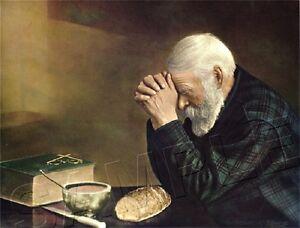 "OLD MAN PRAYING *CANVAS* CHRISTIAN ART PRINT ~ ""GRACE"""