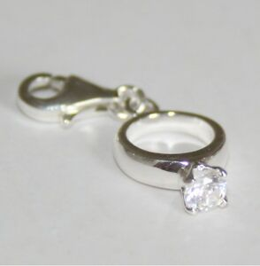 ENGAGEMENT RING Wedding - Love - Solid 925 sterling silver clip-on charm/pendant