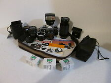 Asahi Pentax ME Camera w/ 3 Lenses & Accessories Pentax-M 1:2 50mm Lens Hanimex