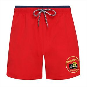 BAYWATCH ® Embroidered Licenced Red / Navy Lifeguard Swim Shorts (AF)