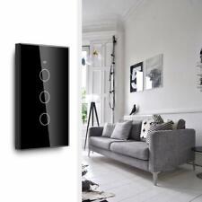 3 Gang 1 Way Black Wifi Touch Switch Glass Panel Lighting Smart Wall Switch UE