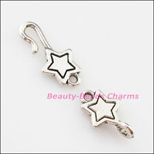 4Sets Tibetan Silver Lovely Star Bracelet Toggle Clasps Connectors 9.5x32mm