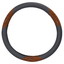 Golf Cart Steering Wheel Cover Grey, Woodgrain Synthetic Leather 13.25-14.5""