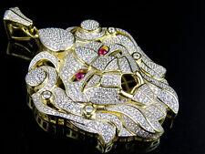 Men's Sterling Silver XL Lion Designer Head Lab Diamond Pendant Charm 2.5 Inch