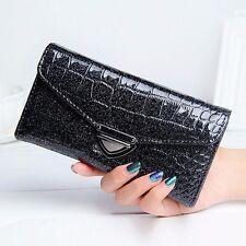 Women Crocodile Pattern Coin Purse Long Wallet Card Holders Handbag Bag Black