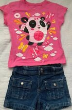 Old Navy Blue Jean Short Sz 5 & Og Girl Pink Panda Shirt Sz M Set