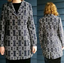 NEW Navy Blue CHAIN LINK Coat by Pinky & Dianne, Silk Blend, Size 6 Medium