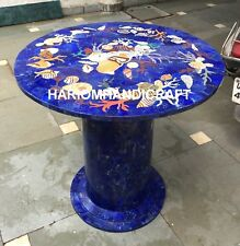 "Marble Coffee 30"" Table Top With 24'' Stand Inlaid Shells Antique Hallway M029"