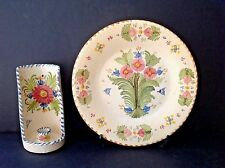 Set 2 VTG Handprinted Pottery Spain Talavera Wall Candle Holder & 12-1/2'' Plate