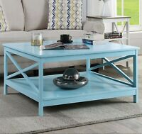 Large Square Cocktail Coffee Table w/ Lower Shelf Living Room Display Storage