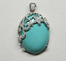 LARGE GENUINE TURQUOISE GEMSTONE PENDANT 925 STERLING SILVER >New Old Stock<