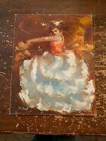 Vintage Outsider Art Lady Dancer Artist Signed Oil Painting