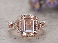 2.34Ct Emerald Cut Morganite Diamond Halo Engagement Ring 14K Rose Gold Finish