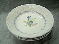 """Vtg Nikko BLUE PEONY Set of 4-7+"""" Soup Cereal Bowls Floral Dots Disc'd Japan EUC"""
