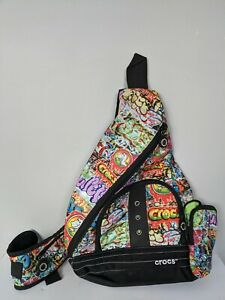 Crocs Sling Style Zipper Backpack with Graffiti Design Multi-Color