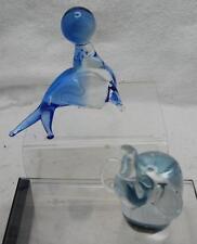"""4.5"""" Blue Glass Seal & 4.5"""" Glass Elephant Figurines"""