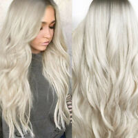Women Fashion Synthetic Hair Lace Front Wig Body Wavy Full Wigs Ombre Blonde