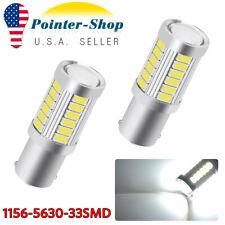 2X 1156 BA15S White 33SMD 5630 Chip LED Tail Brake Light Bulbs 1141 1073 6000K