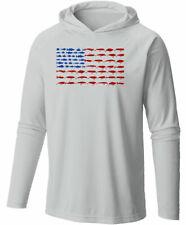 Long Sleeve Microfiber UPF Lure Flag Hooded Fishing Shirt - Gray