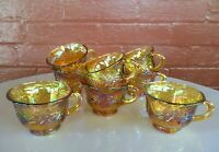 Indiana Glass 8 Iridescent Gold Carnival Princess Harvest Grape 6 oz Punch Cups