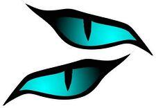 Paire evil yeux oeil couleur bleu vinyle voiture moto casque autocollant 70x30mm chaque