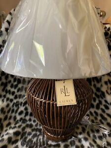 Ralph Lauren Rattan Wicker Table Lamp Wood Base Grand Millennial Coastal Boho