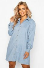 *NEW* Boohoo Plus Babycord Shirt Dress BLUE Size 16 RRP £20