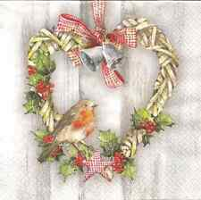 4 Single Paper Table Napkins for Decoupage Robin in Heart Christmas Wreath Bells