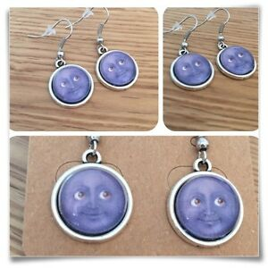 Emoji Moon Face grin Eyes Smile GREY  mini EARRINGS
