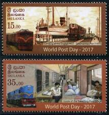 TRAINS World post JOUR MNH 2 Timbres 2017 Sri Lanka Chemin de fer Courrier