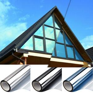 Spiegelfolie Selbstklebend Sonnenschutz Fenster Folie Sichtschutz Blau/Silber UV