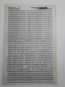 Letraset HR Helvetica Light 16pt sheet 705 letters & numbers (part used)