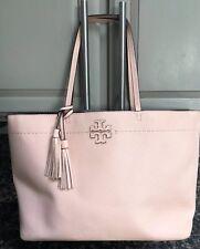 "$398 TORY BURCH McGraw Leather 15"" Laptop Tote Shopper Carryall Bag PINK QUARTZ"