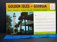 Golden Isles Jekyll Island Sea St Simons Folder Georgia Vintage Postcard