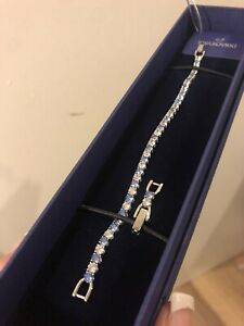 Swarovski Tennis Deluxe Silver Bracelet Light Blue Crystal NEW w Gift Box Bridal