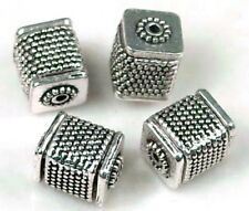 6 Antique Silver Pewter Large Cube Fine Repousse cuboid Beads 12x10mm