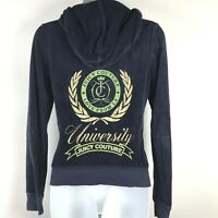 Juicy Couture Tracksuit M Jacket Top Hoodie Blue Zipper Embellished Gold Terry